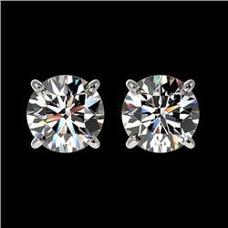 1.59 CTW Certified H-SI/I Quality Diamond Solitaire Stud Earrings 10K White Gold - REF-183A2V - 3660