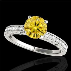 1.43 CTW Certified SI Intense Yellow Diamond Solitaire Antique Ring 10K White Gold - REF-180N2A - 34