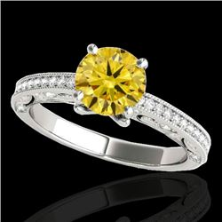 1.25 CTW Certified SI Intense Yellow Diamond Solitaire Antique Ring 10K White Gold - REF-163K6W - 34