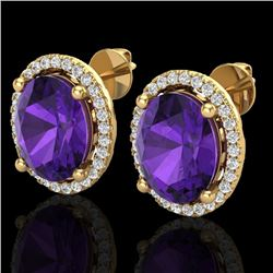 5 CTW Amethyst & Micro Pave VS/SI Diamond Certified Earrings Halo 18K Yellow Gold - REF-76W4H - 2104