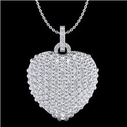 3 CTW Micro Pave VS/SI Diamond Certified Designer Heart Necklace 18K White Gold - REF-200X2R - 20466