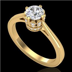 0.81 CTW VS/SI Diamond Art Deco Ring 18K Yellow Gold - REF-135F8N - 36826
