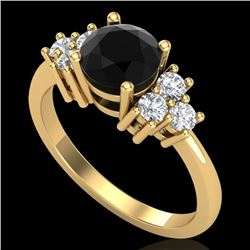 1.50 CTW Fancy Black Diamond Solitaire Engagement Classic Ring 18K Yellow Gold - REF-120N2A - 37599