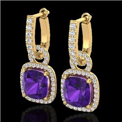 7 CTW Amethyst & Micro Pave VS/SI Diamond Certified Earrings 18K Yellow Gold - REF-101F3N - 22957