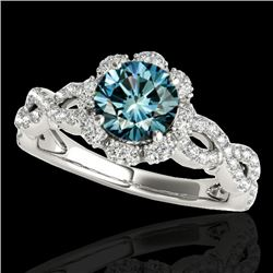 1.69 CTW SI Certified Fancy Blue Diamond Solitaire Halo Ring 10K White Gold - REF-188V2Y - 34110