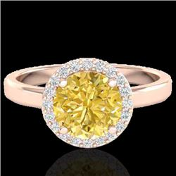 2 CTW Citrine & Halo VS/SI Diamond Micro Pave Ring Solitaire 14K Rose Gold - REF-40H2M - 21625