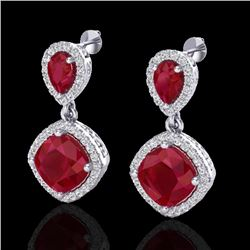 7 CTW Ruby & Micro Pave VS/SI Diamond Certified Earrings Designer Halo 10K White Gold - REF-107X3R -