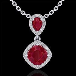 3.50 CTW Ruby & Micro Pave VS/SI Diamond Certified Necklace Halo 10K White Gold - REF-63M6F - 20546