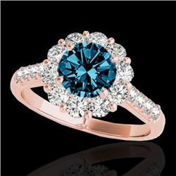 2 CTW SI Certified Fancy Blue Diamond Solitaire Halo Ring 10K Rose Gold - REF-207A3V - 33424