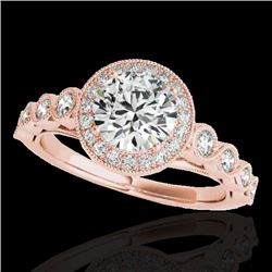 1.50 CTW H-SI/I Certified Diamond Solitaire Halo Ring 10K Rose Gold - REF-236K4W - 33599