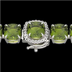 40 CTW Green Tourmaline & Micro VS/SI Diamond Halo Bracelet 14K White Gold - REF-404K4W - 23312