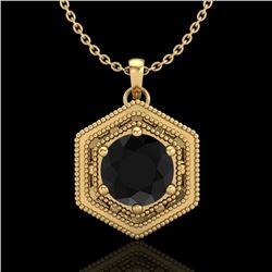 0.76 CTW Fancy Black Diamond Solitaire Art Deco Stud Necklace 18K Yellow Gold - REF-47F3N - 37515