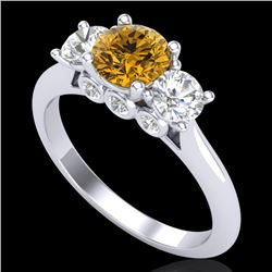 1.50 CTW Intense Fancy Yellow Diamond Art Deco 3 Stone Ring 18K White Gold - REF-174N5A - 38267