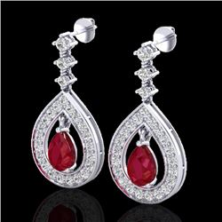 2.25 CTW Ruby & Micro Pave VS/SI Diamond Earrings Designer 14K White Gold - REF-105W5H - 23153