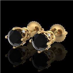 1.26 CTW Fancy Black Diamond Solitaire Art Deco Stud Earrings 18K Yellow Gold - REF-67V3Y - 37788