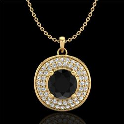 1.25 CTW Fancy Black Diamond Solitaire Art Deco Stud Necklace 18K Yellow Gold - REF-83N6A - 38138