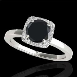 1.15 CTW Certified VS Black Diamond Solitaire Halo Ring 10K White Gold - REF-43A6V - 33403