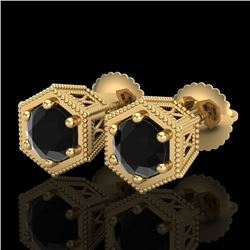 1.15 CTW Fancy Black Diamond Solitaire Art Deco Stud Earrings 18K Yellow Gold - REF-68R2K - 38040