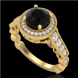 1.91 CTW Fancy Black Diamond Solitaire Engagement Art Deco Ring 18K Yellow Gold - REF-130K9W - 37683