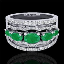 2.25 CTW Emerald & Micro Pave VS/SI Diamond Certified Designer Ring 10K White Gold - REF-71H3M - 208