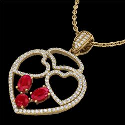 3 CTW Ruby & Micro Pave Designer Inspired Heart Necklace 14K Yellow Gold - REF-117W8H - 22542