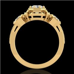 1.01 CTW VS/SI Diamond Solitaire Art Deco 3 Stone Ring 18K Yellow Gold - REF-200A2V - 36883