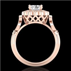1.20 CTW VS/SI Diamond Solitaire Art Deco Ring 18K Rose Gold - REF-345V2Y - 37050