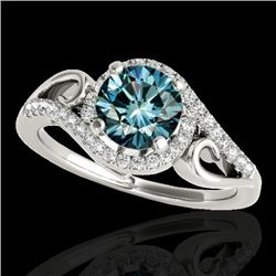 1.25 CTW SI Certified Fancy Blue Diamond Solitaire Halo Ring 10K White Gold - REF-155R5K - 34173