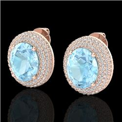 8 CTW Aquamarine & Micro Pave VS/SI Diamond Certified Earrings 14K Rose Gold - REF-208X2R - 20214