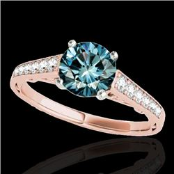 1.35 CTW SI Certified Fancy Blue Diamond Solitaire Ring 10K Rose Gold - REF-156R4K - 34913