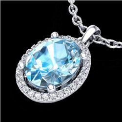 3 CTW Sky Blue Topaz & Micro Pave VS/SI Diamond Necklace Halo 18K White Gold - REF-49R3K - 21073