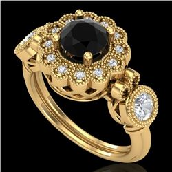 1.50 CTW Fancy Black Diamond Solitaire Art Deco 3 Stone Ring 18K Yellow Gold - REF-170W2H - 37851
