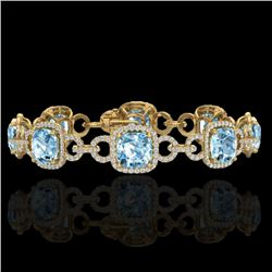 30 CTW Topaz & Micro VS/SI Diamond Certified Bracelet 14K Yellow Gold - REF-368H9M - 23034
