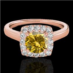 1.37 CTW Certified SI/I Fancy Intense Yellow Diamond Solitaire Halo Ring 10K Rose Gold - REF-167M3F