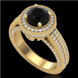 2.8 CTW Fancy Black Diamond Solitaire Engagement Art Deco Ring 18K Yellow Gold - REF-236N4A - 38005
