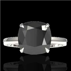 6 CTW Black VS/SI Diamond Designer Inspired Engagement Ring 18K White Gold - REF-155Y6X - 22175