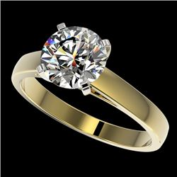 2 CTW Certified H-SI/I Quality Diamond Solitaire Engagement Ring 10K Yellow Gold - REF-466M3F - 3303