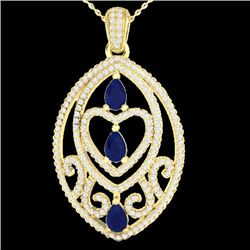 3.50 CTW Sapphire & Micro VS/SI Diamond Heart Necklace Designer 18K Yellow Gold - REF-218K2W - 21295