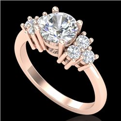 1.50 CTW VS/SI Diamond Solitaire Ring 18K Rose Gold - REF-409M3F - 36939
