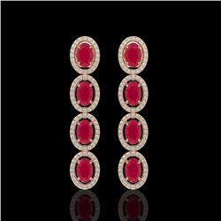 6.47 CTW Ruby & Diamond Earrings Rose Gold 10K Rose Gold - REF-114A2V - 40899