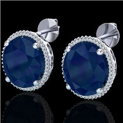 25 CTW Sapphire & Micro Pave VS/SI Diamond Certified Halo Earrings 18K White Gold - REF-200A2V - 202