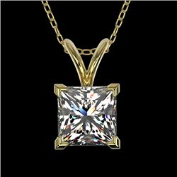 1 CTW Certified VS/SI Quality Princess Diamond Solitaire Necklace 10K Yellow Gold - REF-265M3F - 331