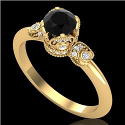 1 CTW Fancy Black Diamond Solitaire Engagement Art Deco Ring 18K Yellow Gold - REF-95A5V - 37396