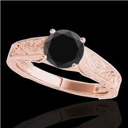 1 CTW Certified VS Black Diamond Solitaire Ring 10K Rose Gold - REF-45N8A - 35186