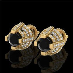 2.75 CTW Fancy Black Diamond Solitaire Micro Pave Stud Earrings 18K Yellow Gold - REF-180A2V - 37627