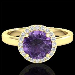 2 CTW Amethyst & Halo VS/SI Diamond Micro Pave Ring Solitaire 18K Yellow Gold - REF-48H5M - 21618