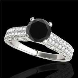 1.41 CTW Certified VS Black Diamond Solitaire Antique Ring 10K White Gold - REF-63N5A - 34696