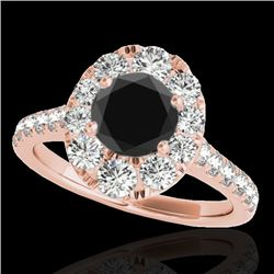 2 CTW Certified VS Black Diamond Solitaire Halo Ring 10K Rose Gold - REF-102K4W - 34082