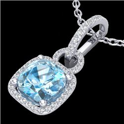 3.50 CTW Topaz & Micro VS/SI Diamond Certified Necklace 18K White Gold - REF-60X7R - 22992