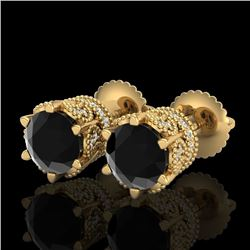 2.04 CTW Fancy Black Diamond Solitaire Art Deco Stud Earrings 18K Yellow Gold - REF-89X3R - 38096